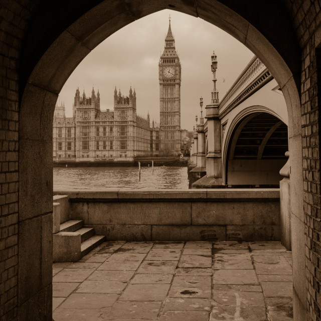 """""""Westminster & Big Ben through the Arch Sepia"""" stock image"""