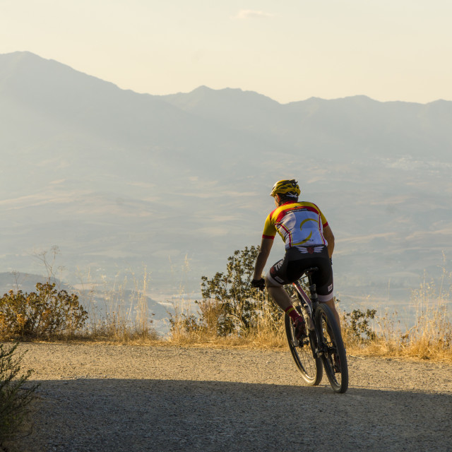 """""""mountain biker in mountains of Spain"""" stock image"""