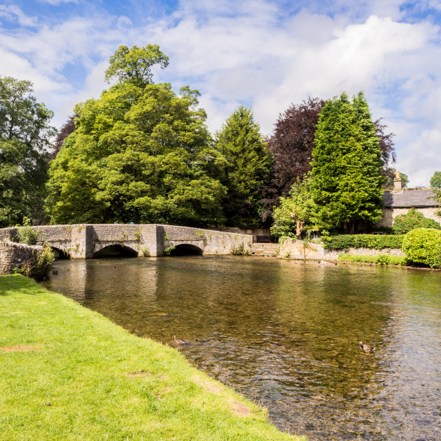 """Beautiful summer afternoon at Sheepwash bridge on the river Wye, Ashford in..."" stock image"