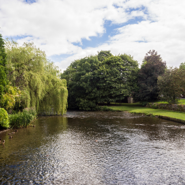 """The river Wye at Ashford in the water, Derbyshire, UK"" stock image"