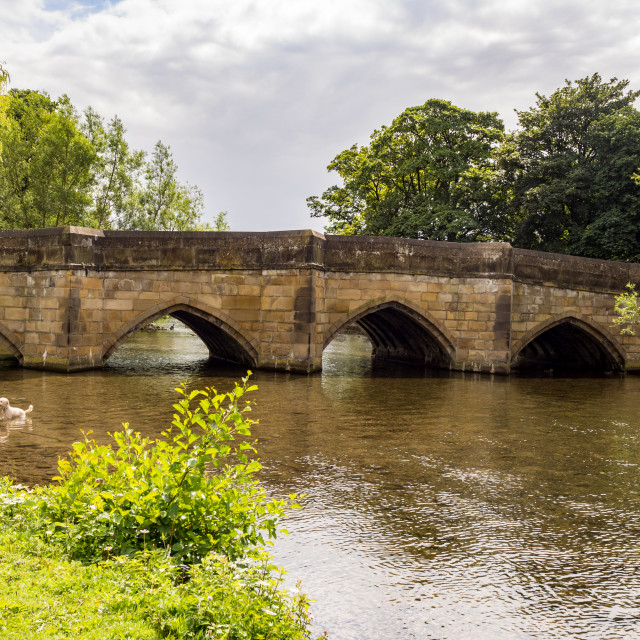 """The old Bridge over the river Wye at Bakewell, Derbyshire, UK"" stock image"