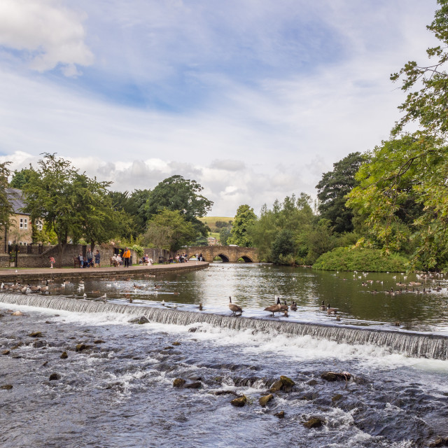 """Weir on the river Wye at Bakewell, Derbyshire, UK"" stock image"
