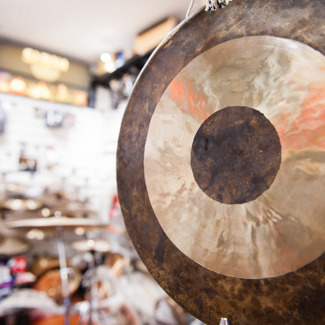 """""""Gong percussion instrument close up"""" stock image"""