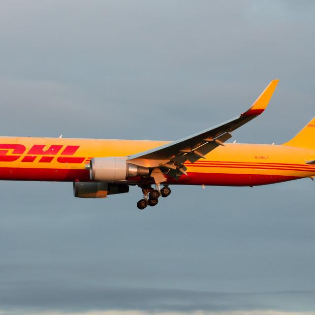 """00067 DHL Boeing 767-3JHF"" stock image"