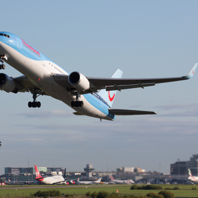 """""""00069 Thomson Airways 767 departing Manchester"""" stock image"""