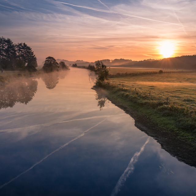 """river sunrise"" stock image"