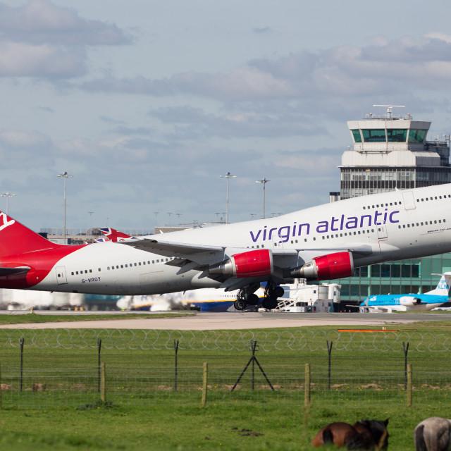 """Virgin Atlantic 747 departing Manchester"" stock image"