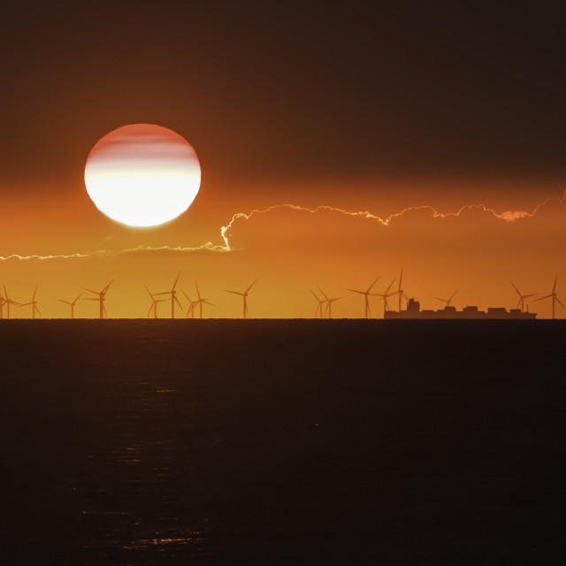 """Windmill sunset"" stock image"