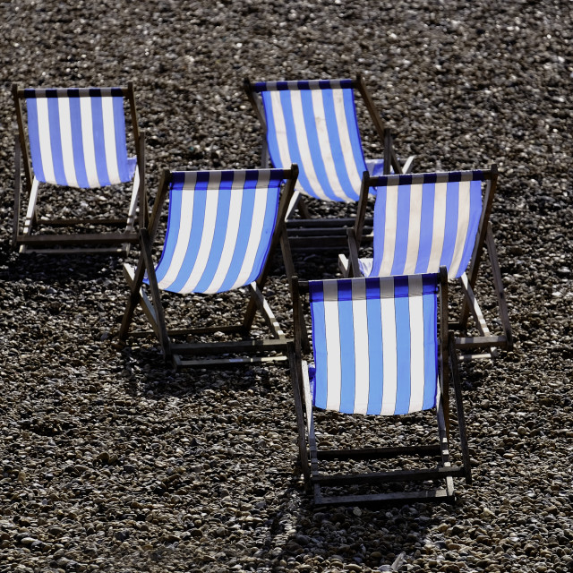 """Five Deckchairs"" stock image"