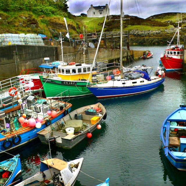 """Grimsay Harbour, North Uist, Scotland"" stock image"