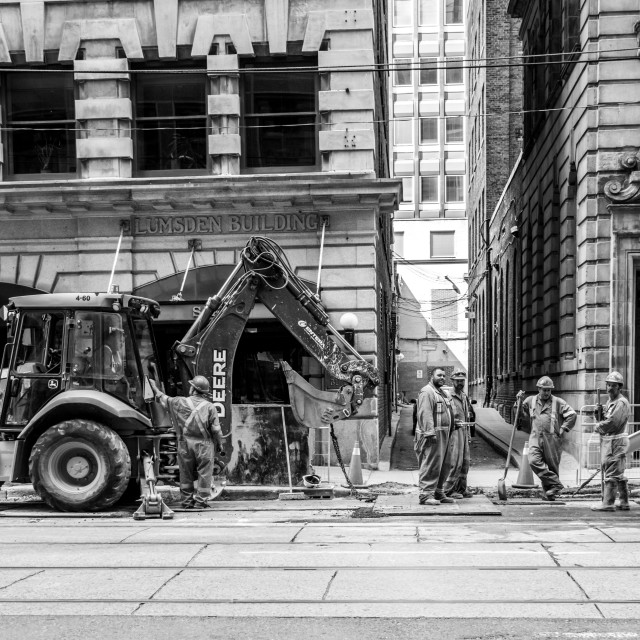 """""""Construction Workers of Toronto"""" stock image"""