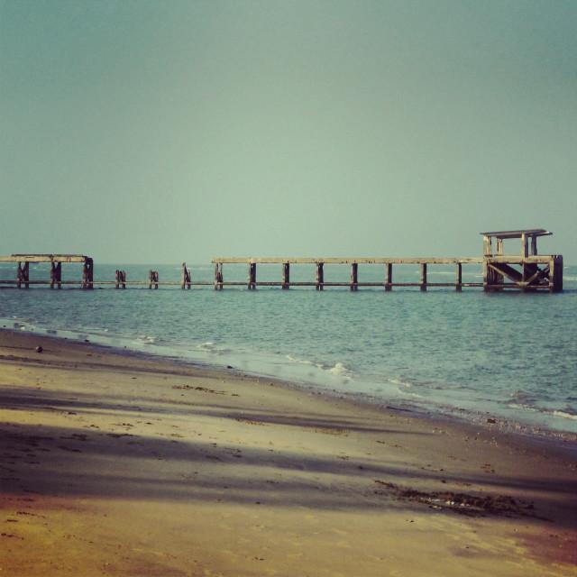 """Old Pier Hua Hin beach"" stock image"