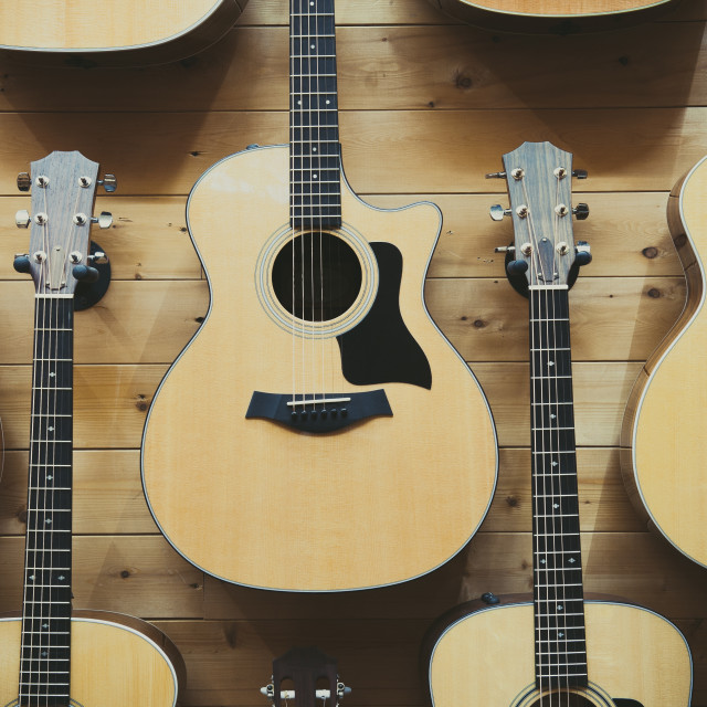 """""""Pattern background of classic guitars"""" stock image"""