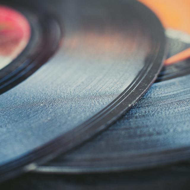 """Vintage vinyl record groove close up"" stock image"