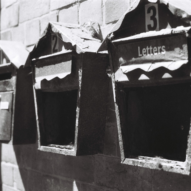"""Broken Letterboxes"" stock image"