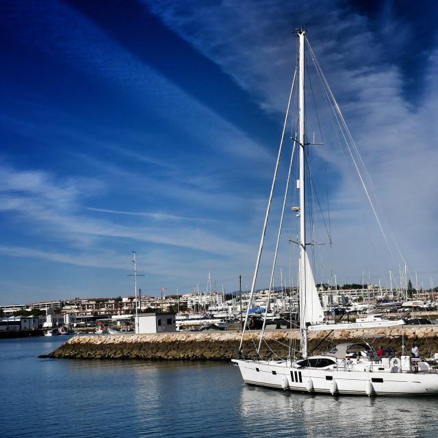 """Sailing into Lagos marina"" stock image"