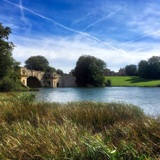 """Scene across the lake at Blenheim Palace"" stock image"