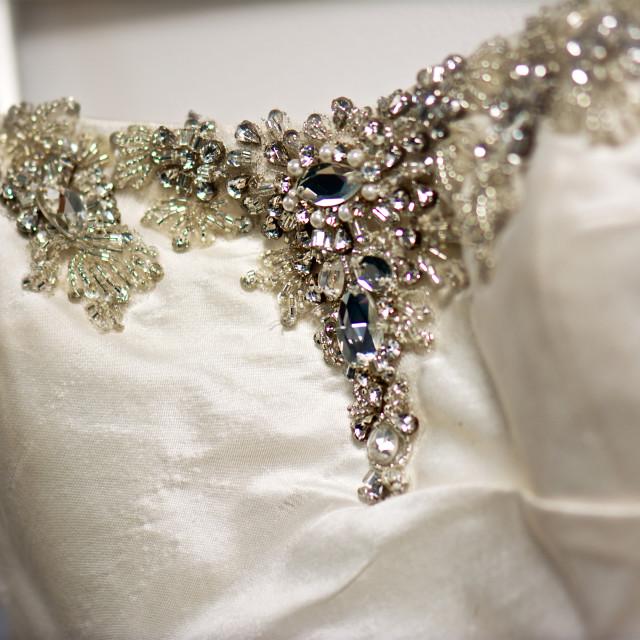"""Wedding dress bust, close up"" stock image"