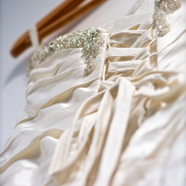 """Back of weeding dress-hanger and ribbons"" stock image"