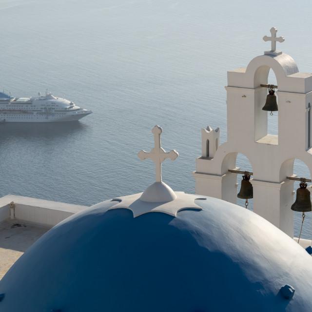 """Firostefani Church and Cruise Ship, Santorini"" stock image"