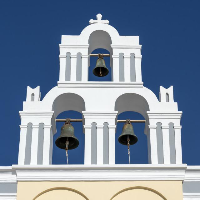 """Firostefani Church Belfry, Santorini"" stock image"
