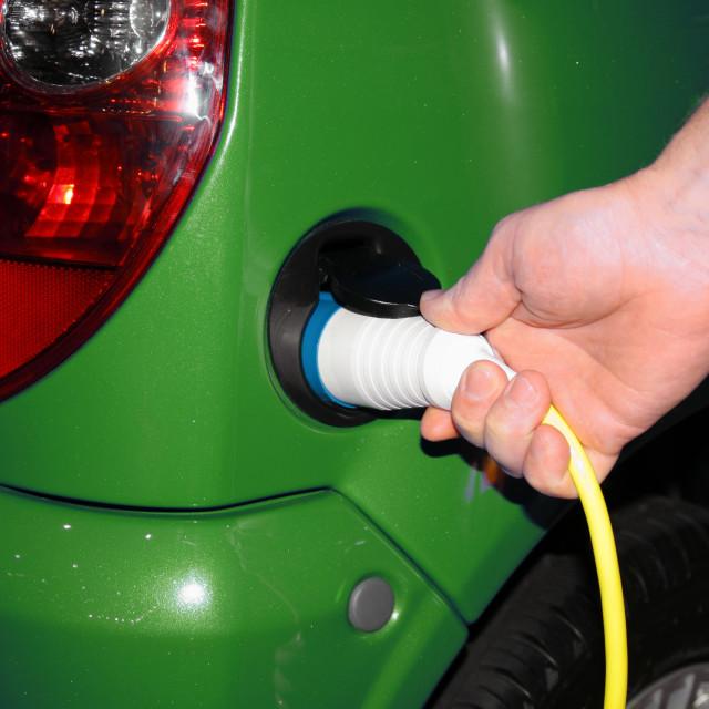 """""""Recharging an Electric Car"""" stock image"""
