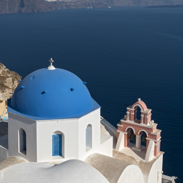"""Blue Domed Church, Oia, Santorini"" stock image"