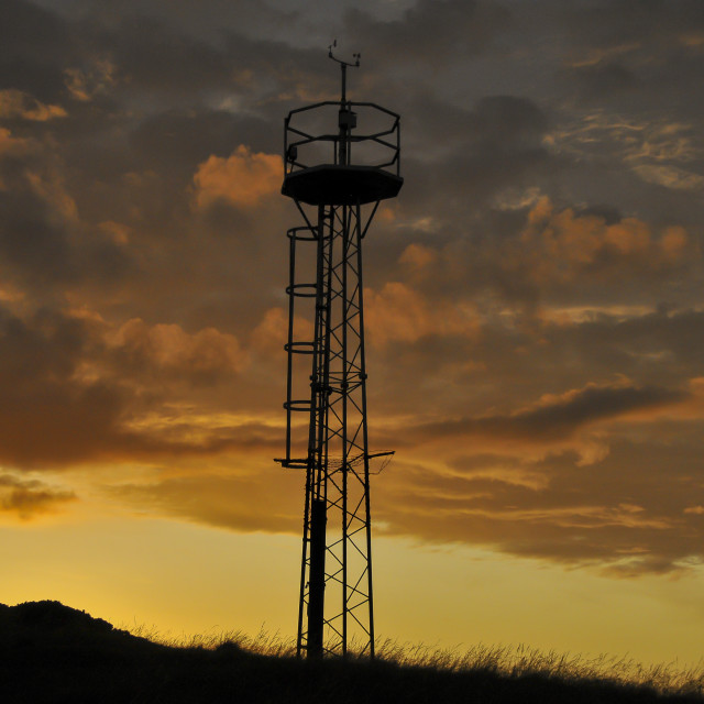"""Mobile mast at sunset"" stock image"