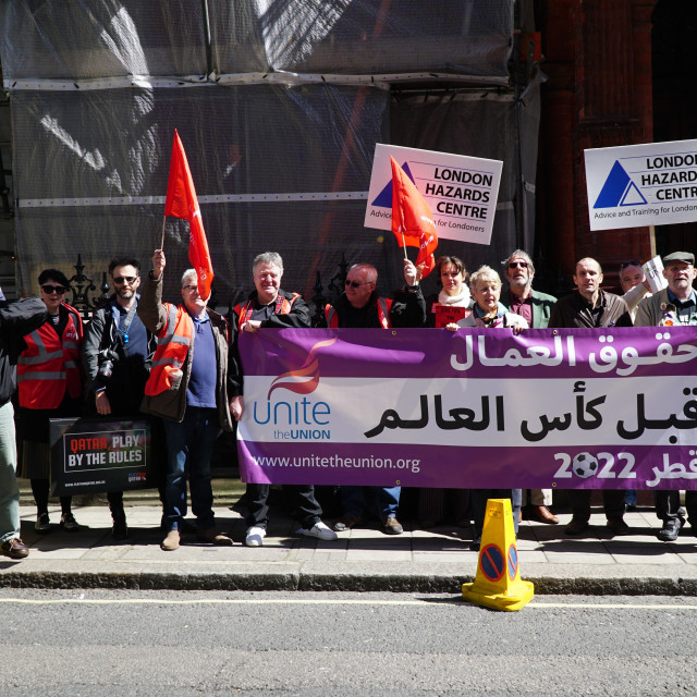 """Workers Memorial Day 2015 protest outside Quatari Embassy"" stock image"