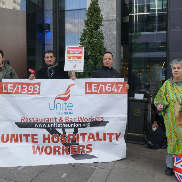 """""""Workers Memorial Day 2015 protest at the front of Hilton Metropole, London"""" stock image"""