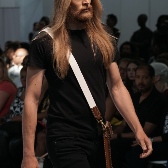 """Rose Leather London showcases latest fashions at AFWL 2014 at London Olympia"" stock image"