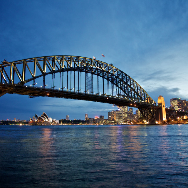 """Sydney Harbour Bridge at Night"" stock image"