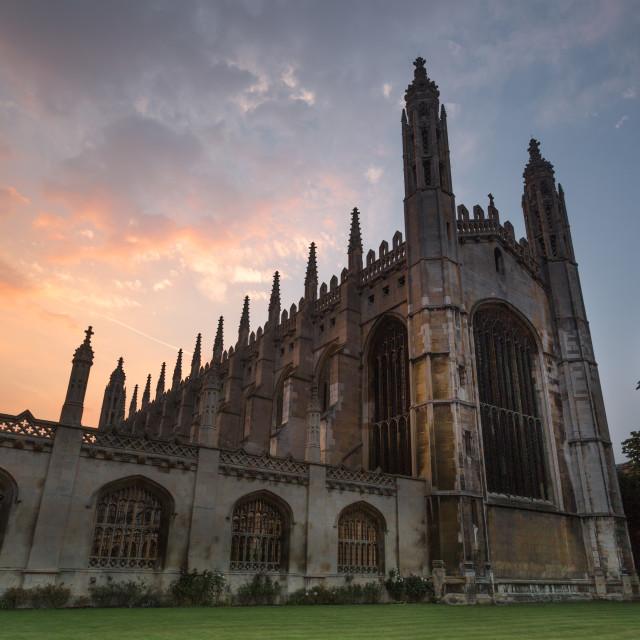 """Sunset at King's College, Cambridge, England, United Kingdom"" stock image"