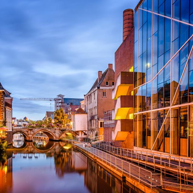 """Night cityscape in Mechelen"" stock image"