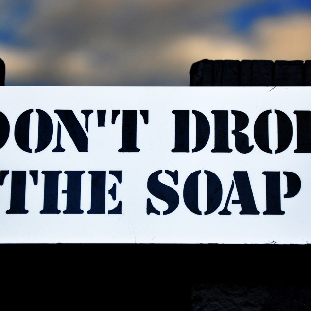 """""""Don't Drop The Soap"""" stock image"""