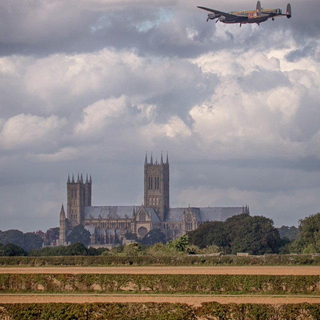 """Lancaster Bomber PA474 over Lincoln"" stock image"
