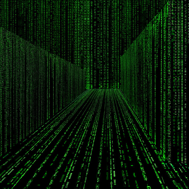 """matrix style cyber corridor as big data storage"" stock image"