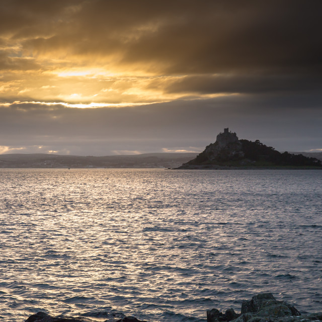 """St Michael's Mount sunset"" stock image"