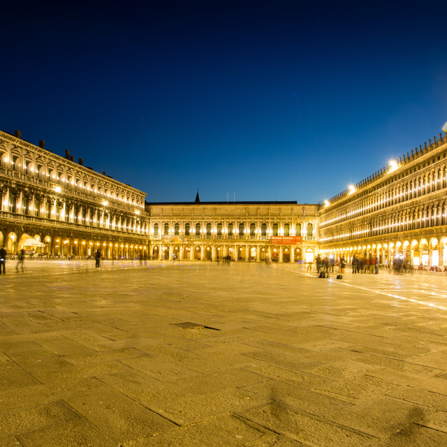 """Night view of Piazza San Marco"" stock image"