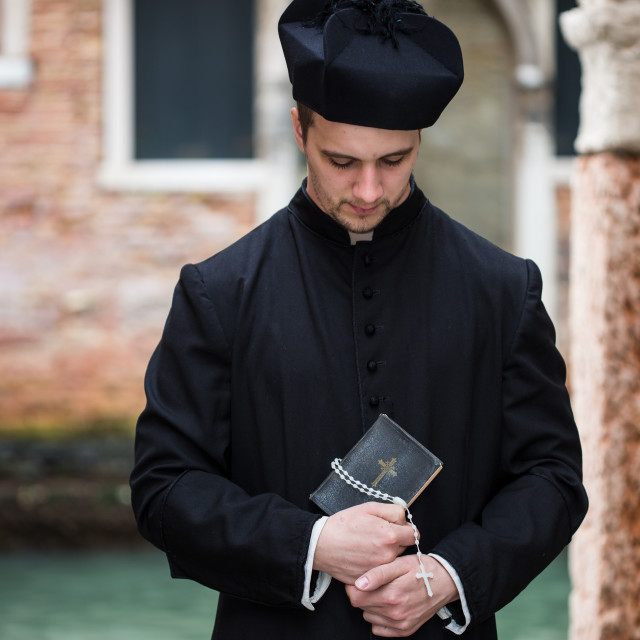 """young priest in venice"" stock image"