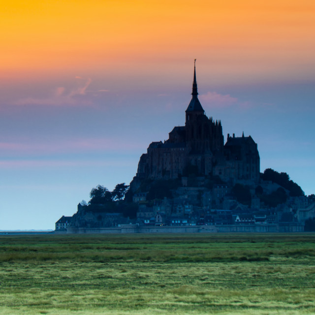 """Le Mont Saint-Michel at sunset"" stock image"