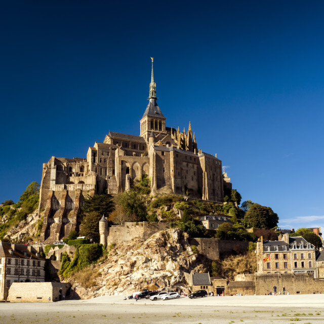 """Le Mont Saint-Michel at Low tide on a sunny day."" stock image"