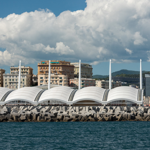 """genoa town cityscape panorama from the sea"" stock image"
