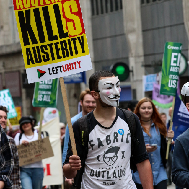 """Austerity Kills"" stock image"