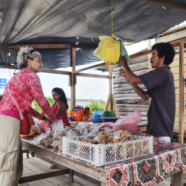 """Shopping at the roadside in Belize"" stock image"