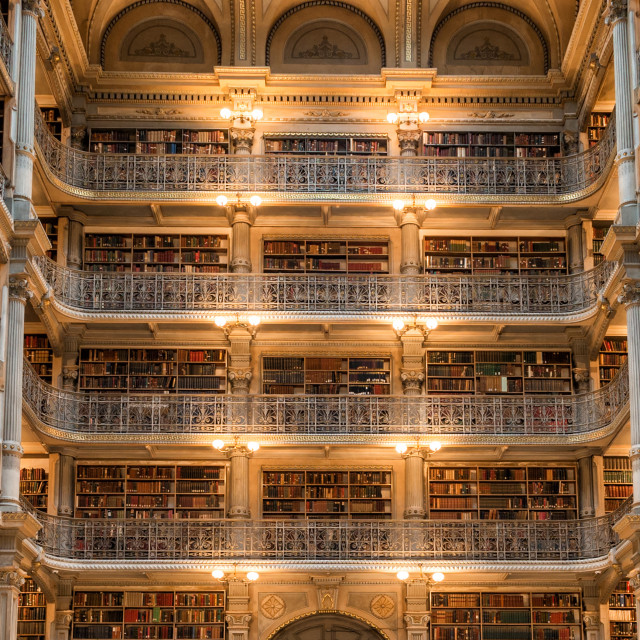"""BALTIMORE, USA - APRIL, 30 2014 - The Peabody Library building, opened in..."" stock image"