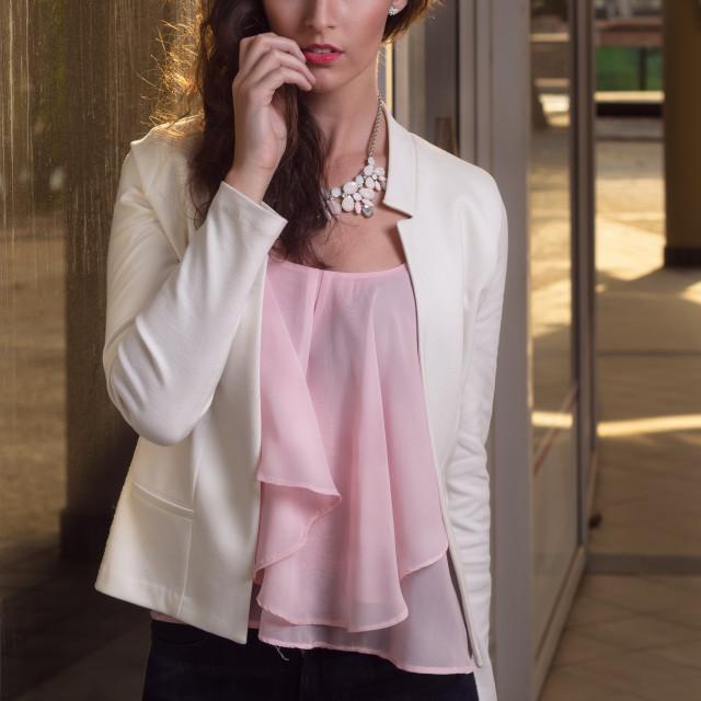 """Beautiful young woman outside city urban walking"" stock image"