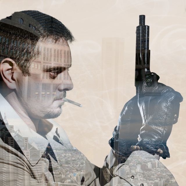 """""""double exposure of killer standing on dark city background to kill"""" stock image"""