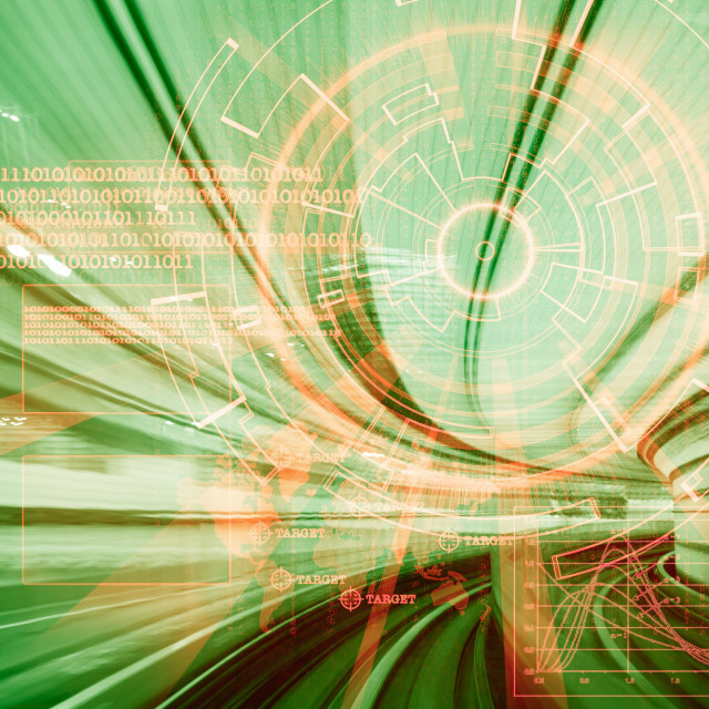 """""""futuristic cyber laser target on a green speed concept"""" stock image"""