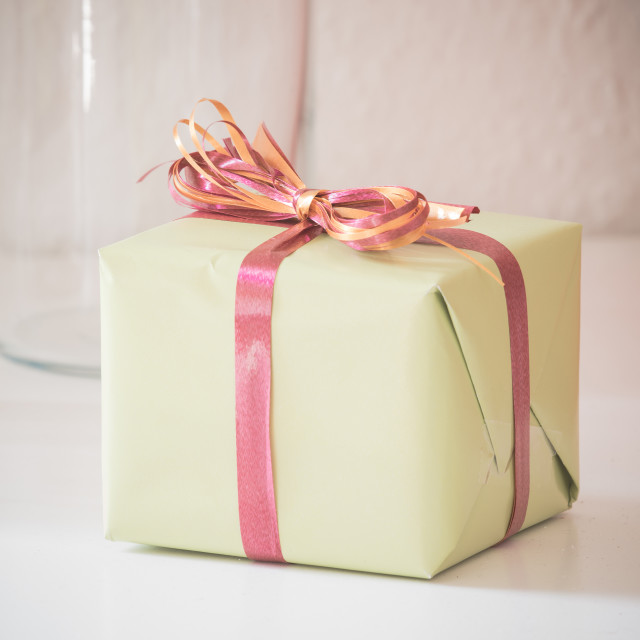"""""""Package with colorful ribbon"""" stock image"""